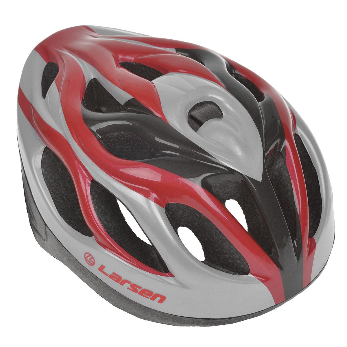 Шлем роликовый Larsen H3BW, цвет: красный, серебристый. Размер L (54-57 см) шлем защитный larsen h1 pilot