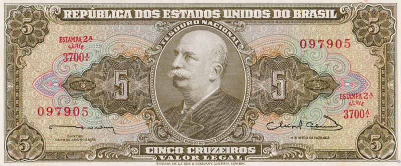 Банкнота номиналом 5 крузейро. Бразилия. 1963 год банкнота номиналом 5 новых крузадо бразилия 1989 год