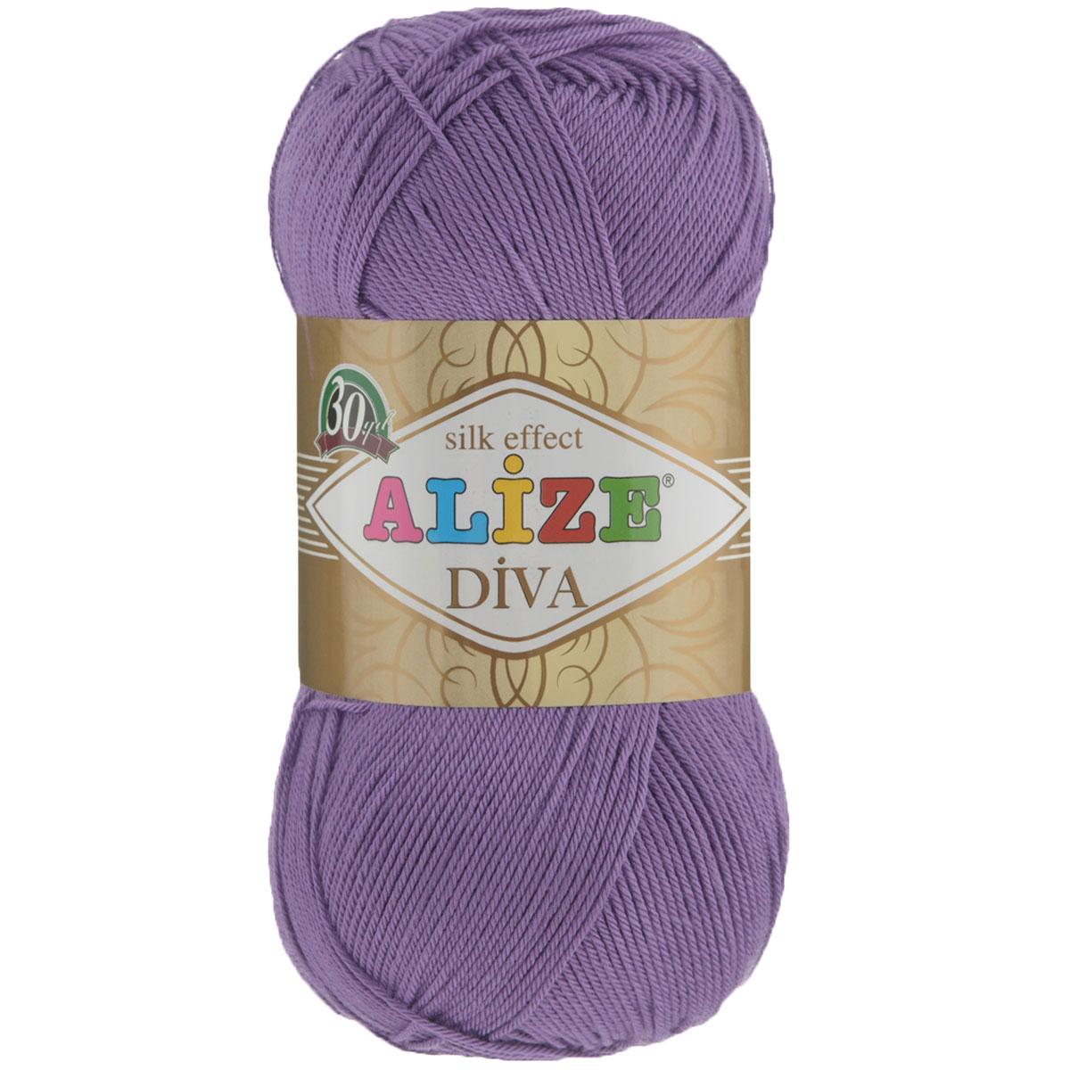 Пряжа для вязания Alize Diva, цвет: фиолетовый (622), 350 м, 100 г, 5 шт364126_622Легкая пряжа Diva с шелковым эффектом для весенних или летних вещей. Приятная на ощупь, обладающая высокой гигроскопичностью, пряжа Diva из микрофибры подойдет для самых разных вязаных изделий: сарафанов, туник, платьев, легких костюмов, кофт, шалей и накидок. Ее с одинаковым успехом можно использовать и для спиц, и для вязания крючком. В палитре большой выбор ярких цветов и пастельных мягких оттенков. Не стоит с предубеждением относиться к искусственной пряже, ведь она обладает целым рядом преимуществ. За изделиями из пряжи Diva проще ухаживать, они не подвержены скатыванию, не вызывают аллергии, не собирают пыль, не линяют и не оставляют ворсинок на другой одежде. Рекомендованные спицы № 2,5-3,5, крючок № 1-3. Состав: 100% микрофибра. Рекомендуем!