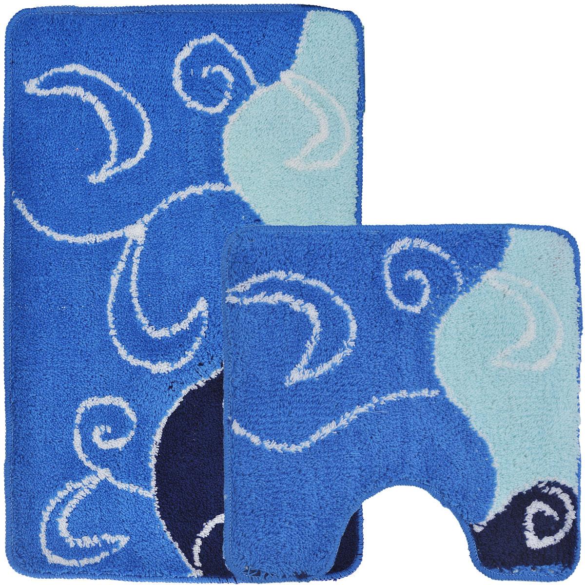 """Комплект ковриков для ванной и туалета """"Fresh Code"""", цвет: синий, 2 предмета"""