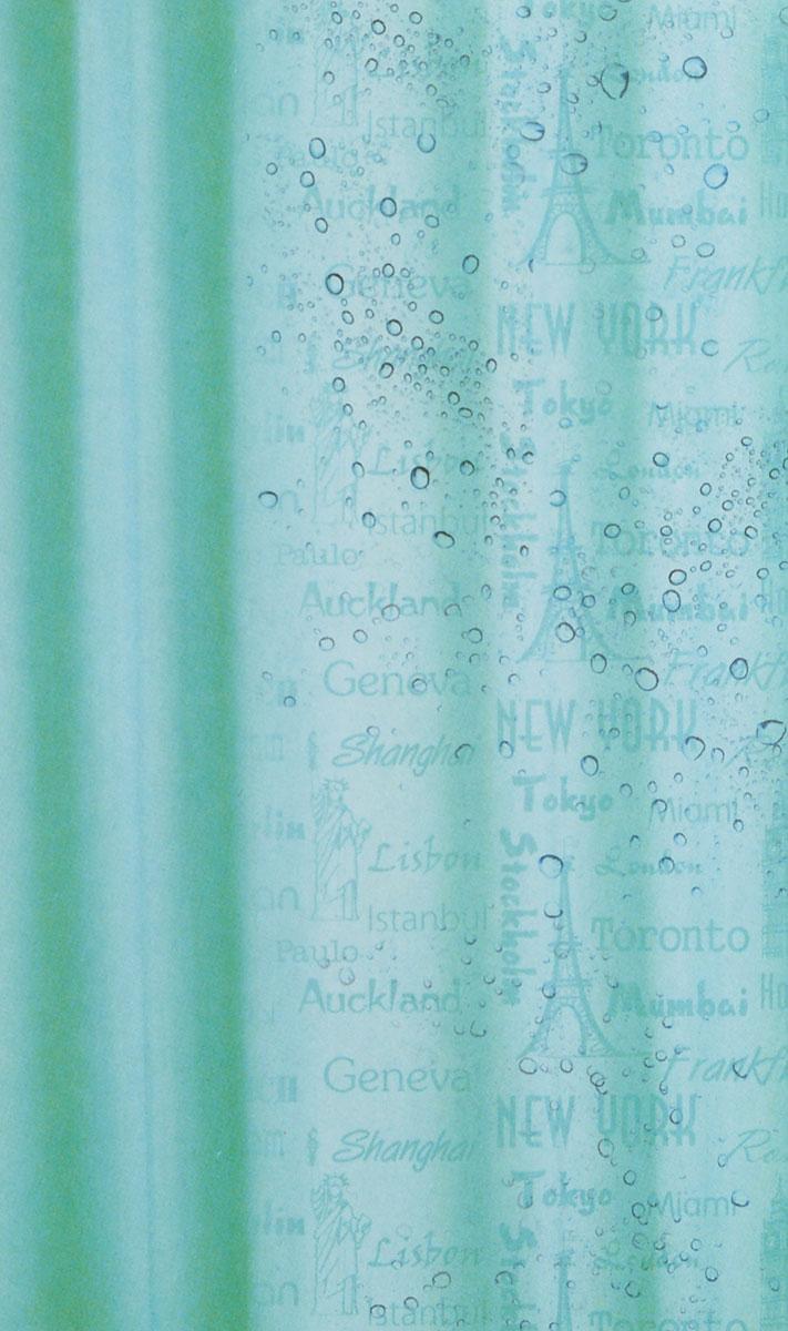 Штора для ванной комнаты White Fox Рисунок-невидимка, цвет: бирюзовый, 180 см х 200 см цена