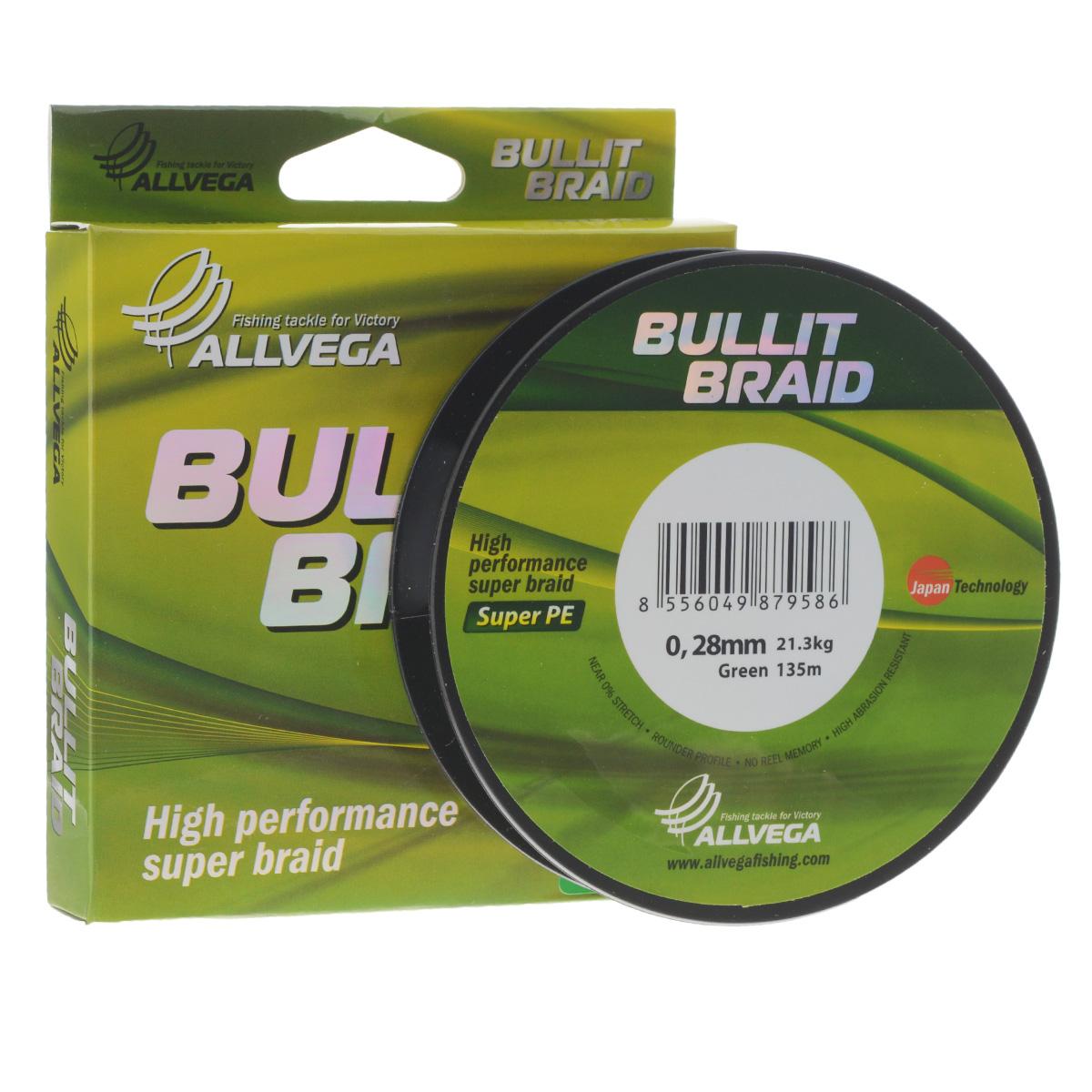 Леска плетеная Allvega Bullit Braid, цвет: темно-зеленый, 135 м, 0,28 мм, 21,3 кг