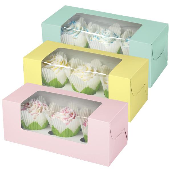 """Набор коробочек для кексов Wilton """"Пастельные цвета"""", 9,5 см х 24 см х 10 см, 3 шт"""