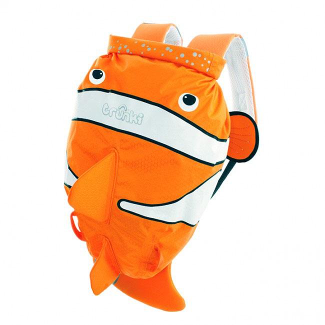 Детский рюкзак для бассейна и пляжа Trunki Рыба-клоун, цвет: оранжевый, белый, 7,5 л детский рюкзак для бассейна и пляжа trunki осьминог цвет фиолетовый салатовый 7 5 л