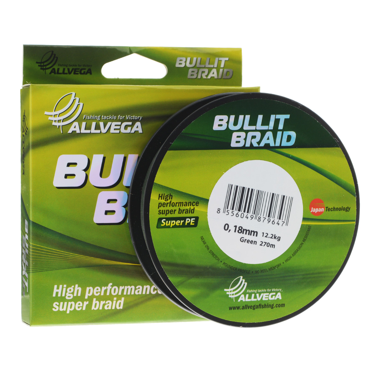 Леска плетеная ALLVEGA Bullit Braid 270м 0,18мм 12,2кг (темно-зеленая)