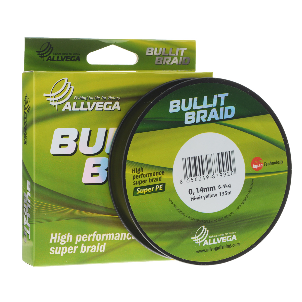 Леска плетеная Allvega Bullit Braid, цвет: ярко-желтый, 135 м, 0,14 мм, 8,4 кг