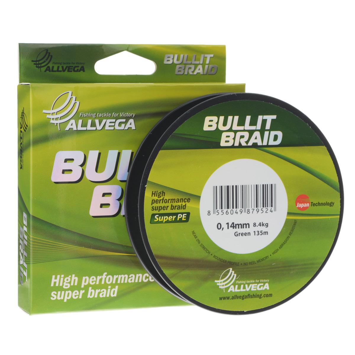 Леска плетеная Allvega Bullit Braid, цвет: темно-зеленый, 135 м, 0,14 мм, 8,4 кг