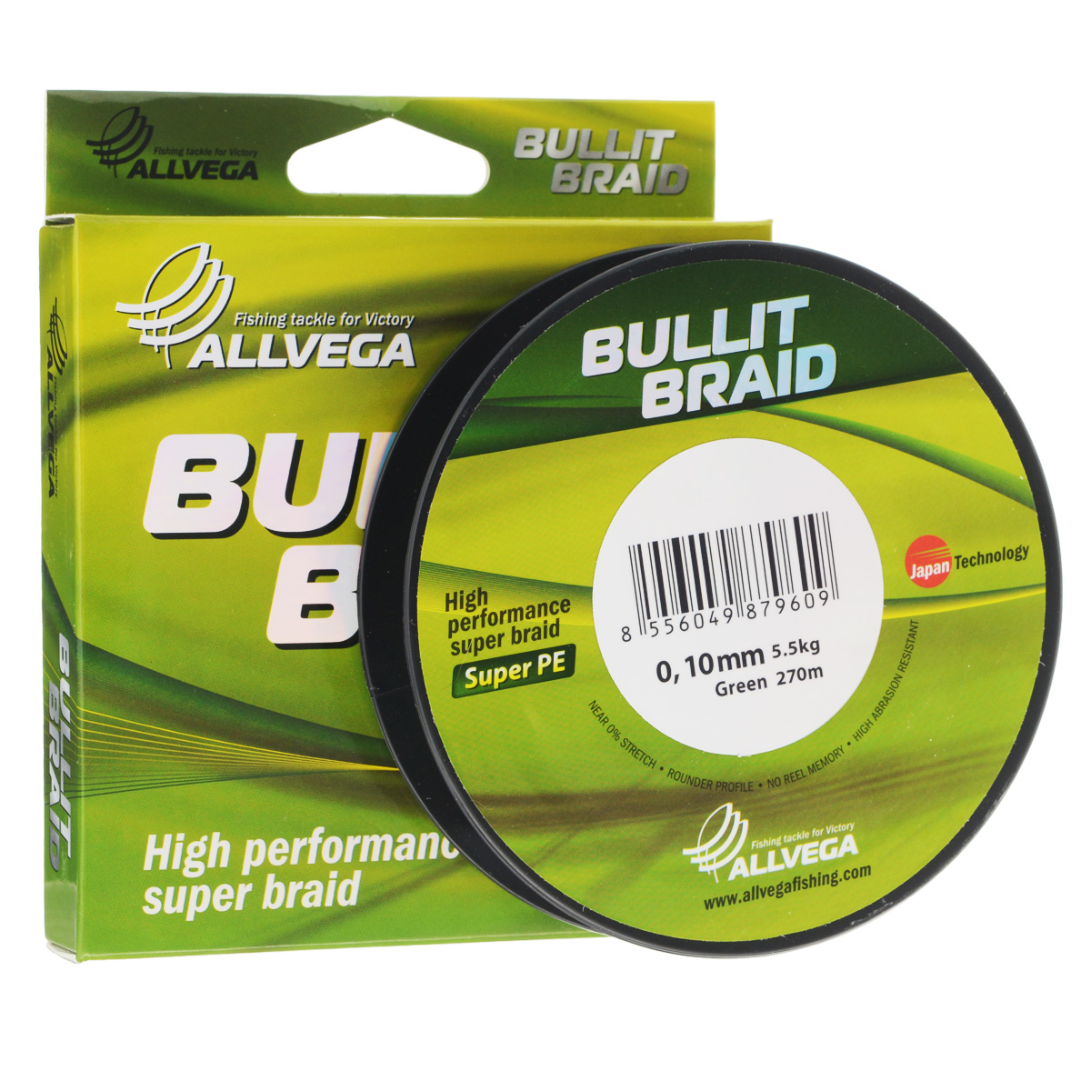 Леска плетеная Allvega Bullit Braid, цвет: темно-зеленый, 270 м, 0,10 мм, 5,5 кг