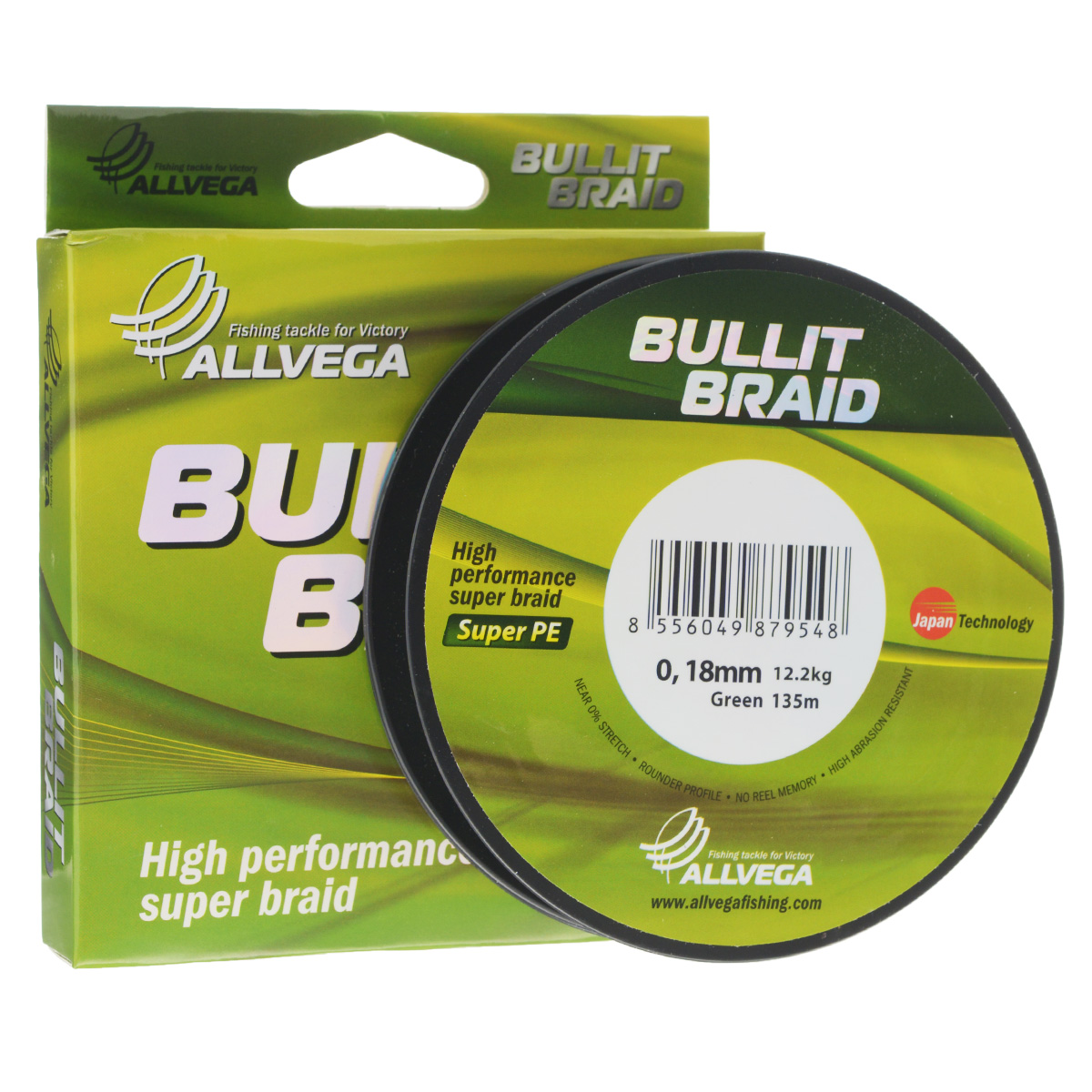 Леска плетеная Allvega Bullit Braid, цвет: темно-зеленый, 135 м, 0,18 мм, 12,2 кг