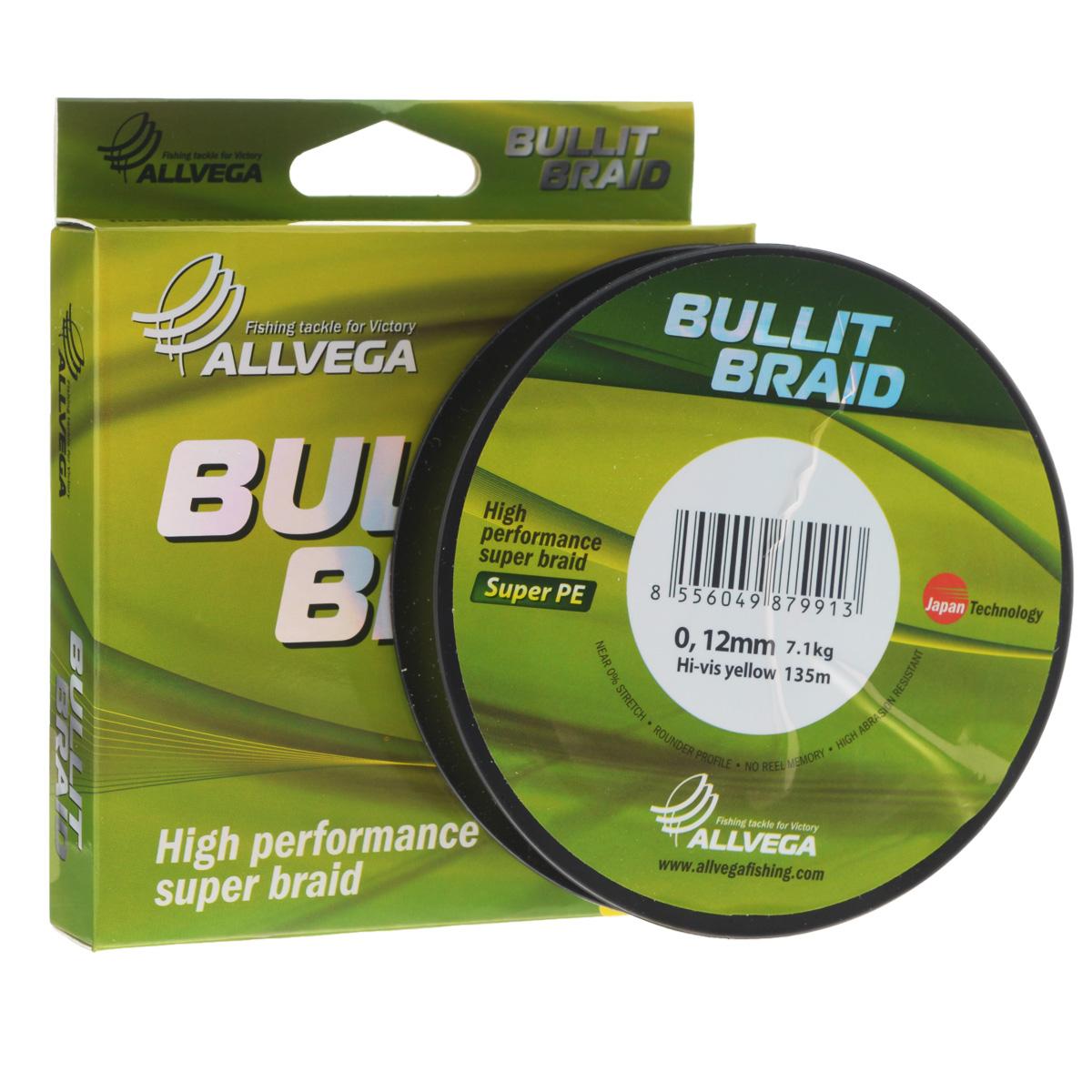 Леска плетеная Allvega Bullit Braid, цвет: ярко-желтый, 135 м, 0,12 мм, 7,1 кг