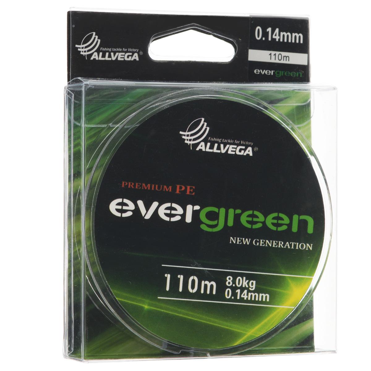 Леска плетеная Allvega Evergreen, цвет: темно-зеленый, 110 м, 0,14 мм, 8 кг стереоресивер marantz m cr511 black купить
