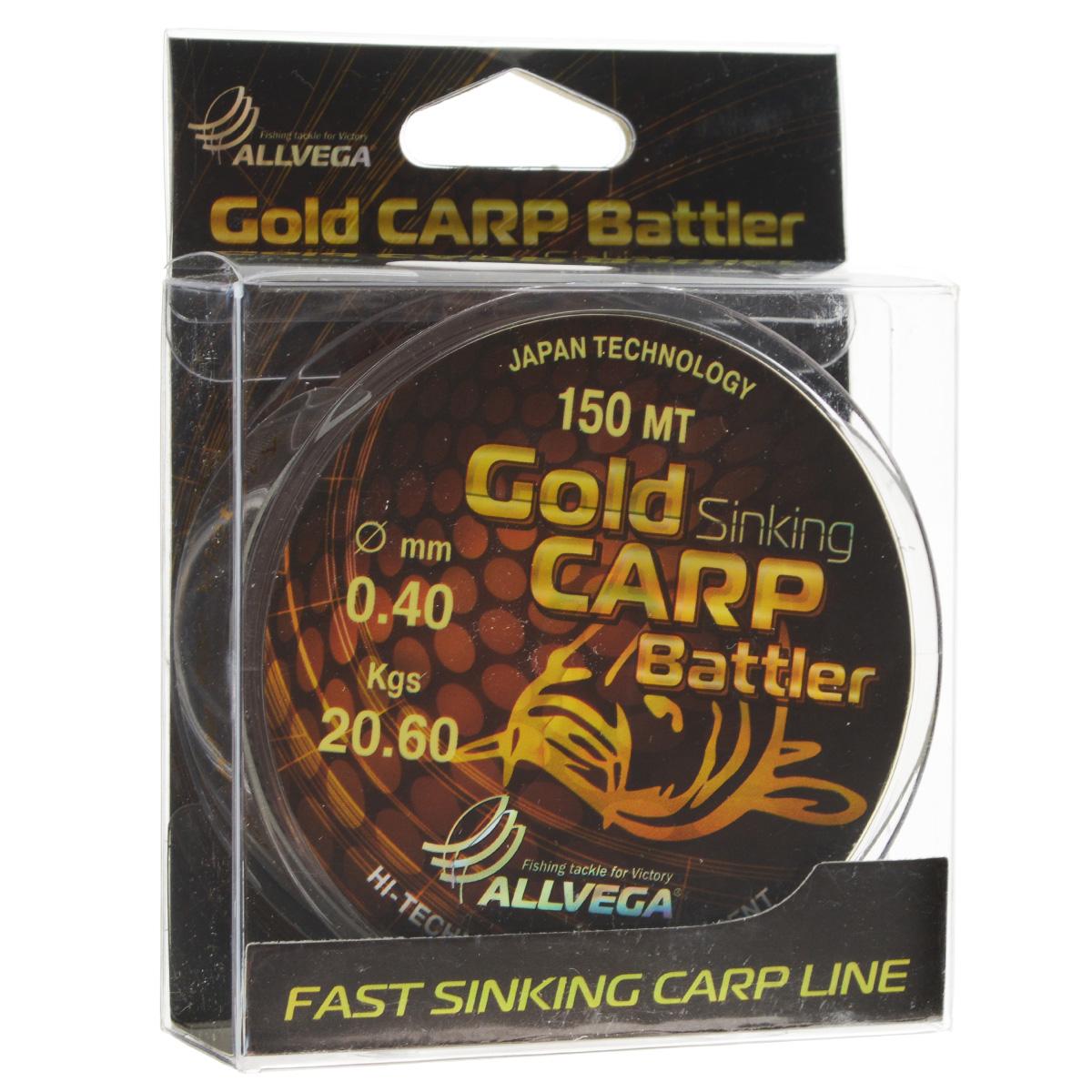 Леска Allvega Gold Carp Battler, цвет: коричневый, 150 м, 0,40 мм, 20,6 кг