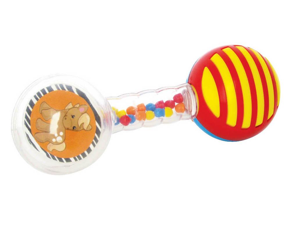 Погремушка Мир детства Веселая гантелька02-592Погремушка Stellar Веселая гантелька - идеальный вариант для первой игрушки малыша. Погремушка выполнена в форме гантели, что очень удобно для маленьких детских ручек, с нанизанными на нее разноцветными фигурными подвижными кольцами. При потряхивании погремушки, благодаря мелким цветным шарикам внутри корпуса, раздается приятный шуршащий звук. Погремушка выполнена из высококачественного абсолютно безопасного прозрачного и цветного пластика. Погремушку рекомендуется использовать с самого рождения для развития у малыша мелкой моторики рук, слухового и цветового восприятия, концентрации внимания, для стимулирования взаимодействия между органами осязания, слухом и зрением, для ознакомления с понятиями формы и цвета. УВАЖАЕМЫЕ КЛИЕНТЫ! Обращаем ваше внимание, что некоторые детали игрушки могут отличаться по цвету от представленного на фото. Поставка осуществляется в зависимости от наличия на складе.
