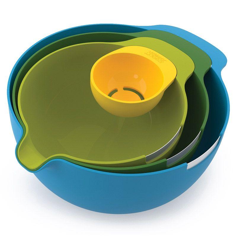 """Набор мисок Joseph Joseph """"Nest"""", с отделителем белков, цвет: желтый, зеленый, салатовый, голубой, 4 предмета"""