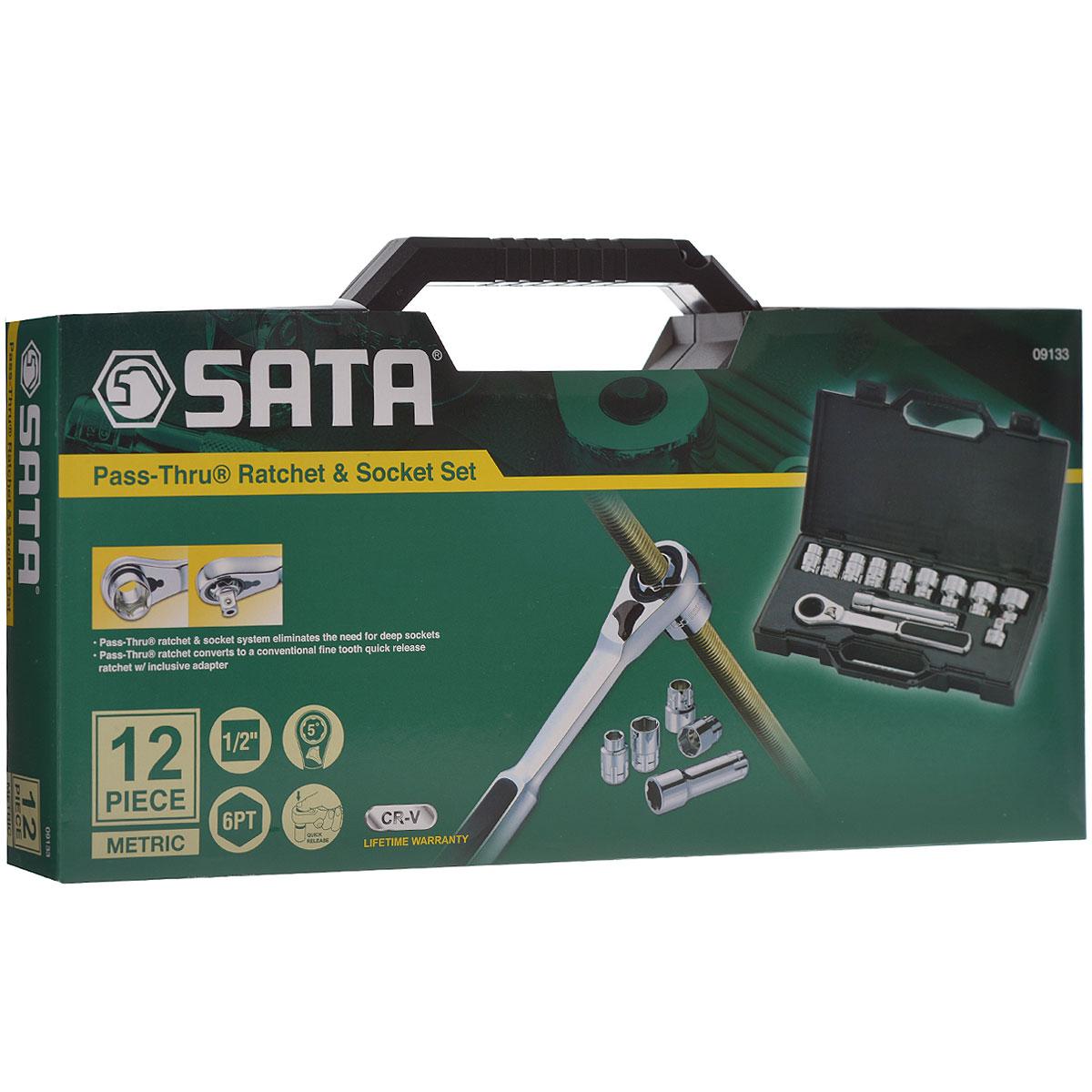 Набор торцевых головок SATA 12пр. 09133 набор инструментов sata 53пр для электротехнических работ 09535