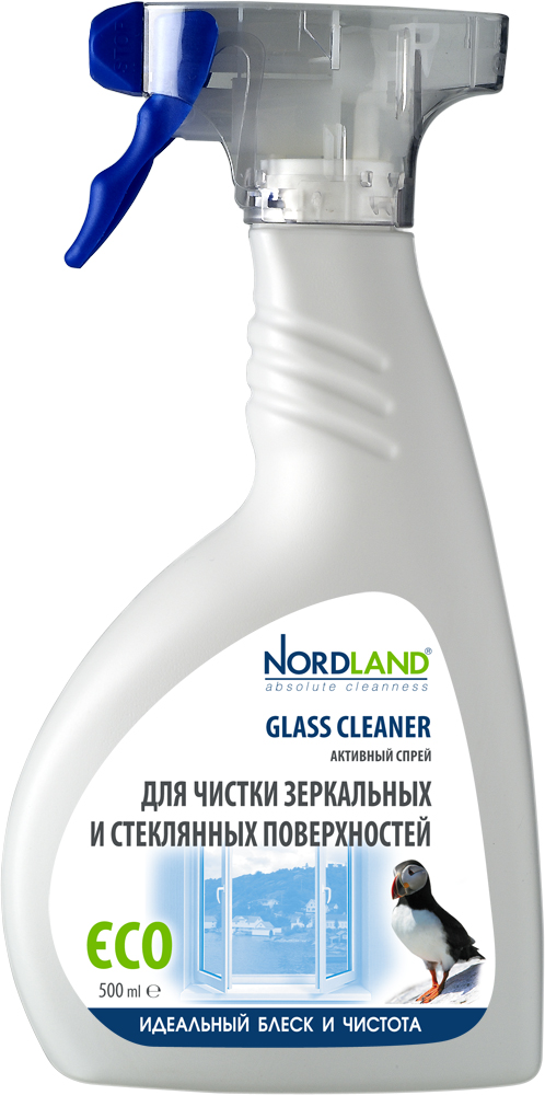 Активный спрей Nordland для чистки зеркальных и стеклянных поверхностей, 500 мл средство для стекла и зеркал nordland 391329