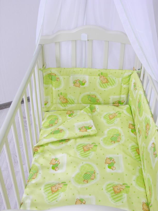 """Комплект в кроватку Фея """"Мишки"""", 6 предметов, зеленый"""