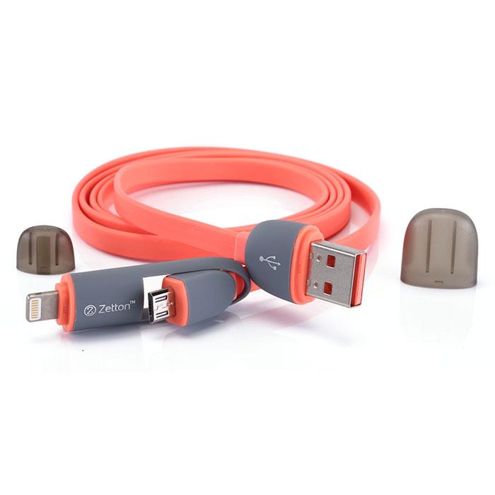 Zetton ZTLSUSB2IN1 USB кабель с разъемами Apple 8 pin/Micro-USB, Red кабель 2 в 1 lightning и micro usb для зарядки и передачи данных i mu