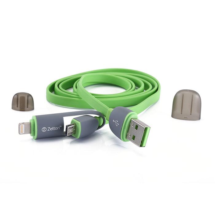 Zetton ZTLSUSB2IN1 USB кабель с разъемами Apple 8 pin/Micro-USB, Green кабель 2 в 1 lightning и micro usb для зарядки и передачи данных i mu