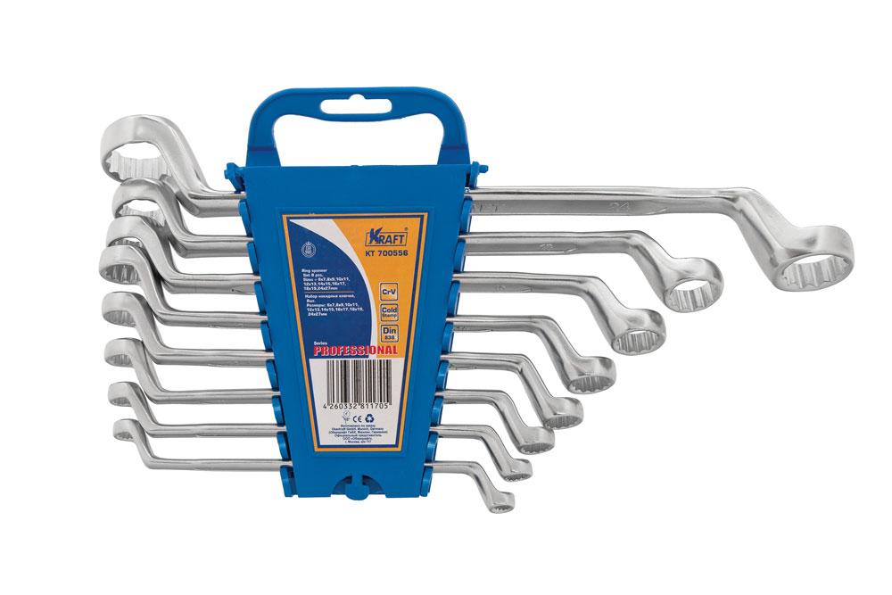 Набор накидных гаечных ключей Kraft Professional, 6 мм - 27 мм, 8 шт