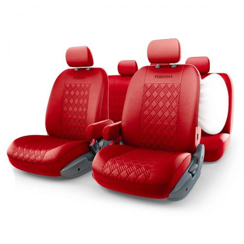 цена на Авточехлы Autoprofi Persona Full, цвет: красный, 13 предметов. Размер М