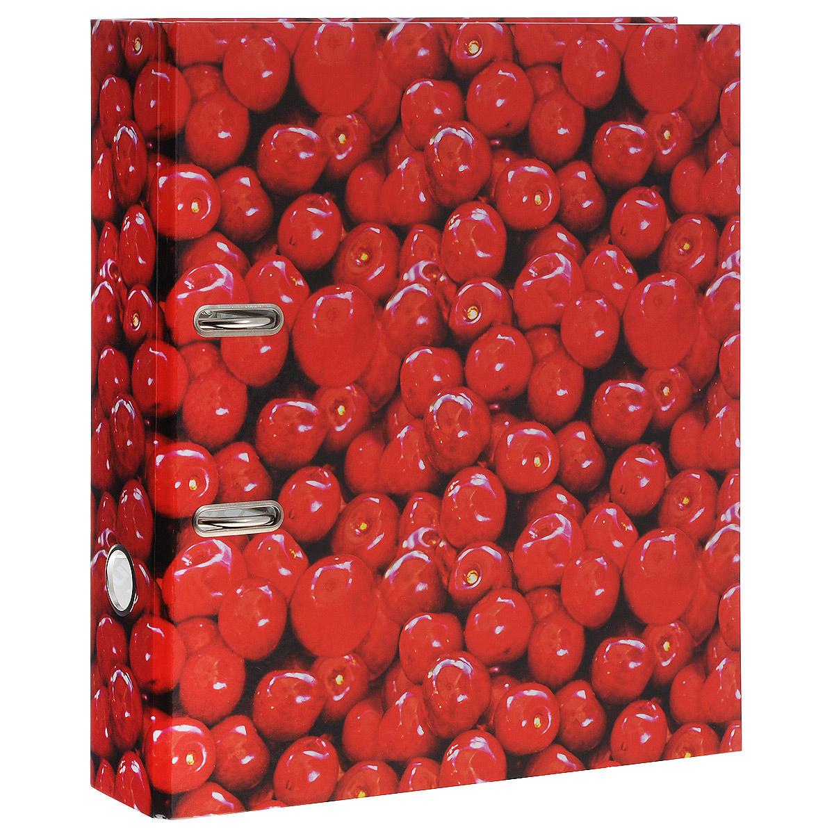 Папка-регистратор Вишня, ширина корешка 70 мм, цвет: красный. IN111103 папка регистратор hatber red on black ширина корешка 70 мм цвет черный красный