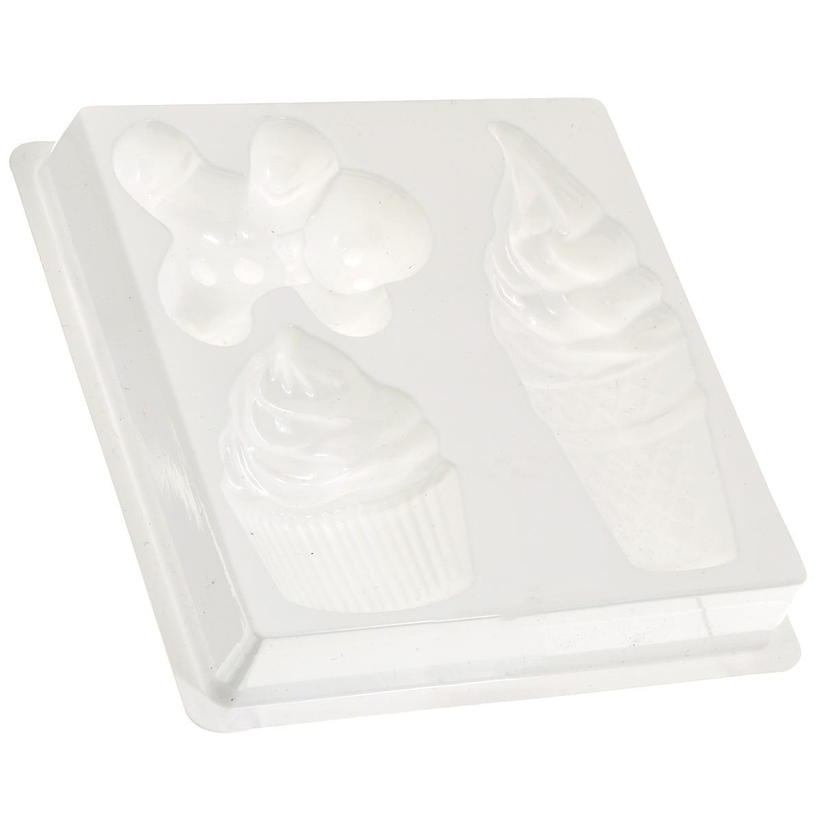 Форма пластиковая профессиональная Десерт, 13 см х 13 см х 2 см, 3 ячейки форма пластиковая весенний листок профессиональная 16 см х 10 5 см х 2 5 см