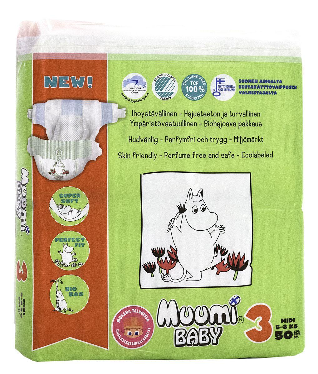 Muumi Подгузники Бейби Миди 3, 5-8 кг, 50 шт