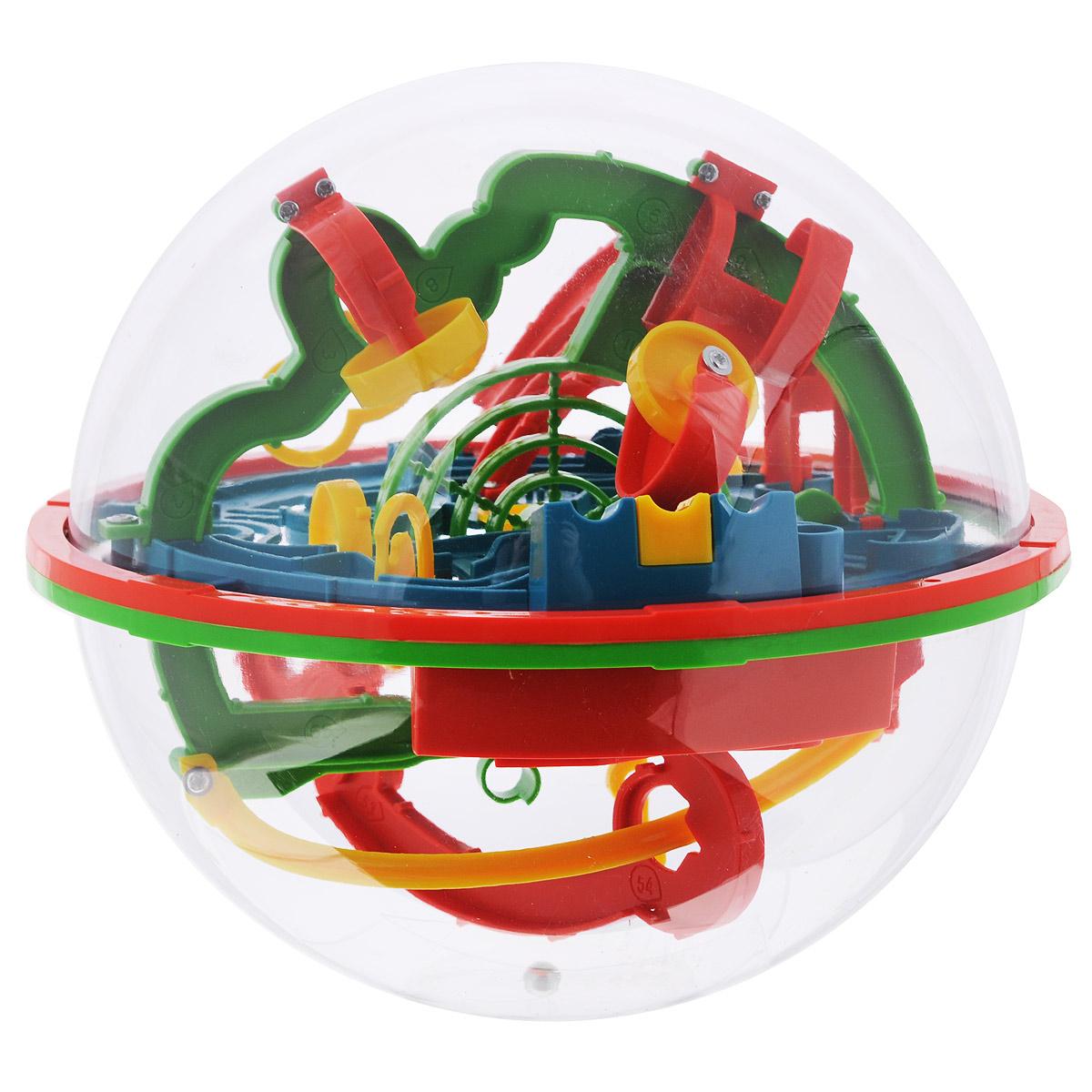 Игрушка-головоломка Bradex Шар-лабиринтDE 0033Игрушка-головоломка Bradex Шар-лабиринт понравится вашему ребенку и надолго займет его внимание. Она представляет собой прозрачную сферу, внутри которой проложен сложнейший лабиринт, который включает в себя множество переходов, барьеров, препятствий. Основная цель - путем вращения сферы необходимо провести металлический шарик по лабиринту, следуя нумерации, чтобы в итоге он попал в небольшое ведерко в центре сферы. Внутри головоломки есть около 100 препятствий, преодолеть которые совсем нелегко. Протяженность лабиринта - 7 метров! В отличие от привычных плоских лабиринтов, эта игрушка развивает пространственное мышление и видение, ведь шарик постоянно перемещается из одной плоскости в другую, рискуя на каждом этапе упасть, вынуждая начинать заново. Игрушка развивает у детей пространственное мышление, а также такие важные в современном мире качества, как моторика и усидчивость. Яркое и красочное оформление, безусловно, привлечет вашего ребенка к этой игрушке и вызовет долгосрочный интерес к ней. Головоломка подарит ребенку радость познавательной активности не только дома, но и на прогулке, в детском саду или школе. Головоломка Шар-лабиринт - игрушка для любого возраста, спроектированная в США 10 лет назад и с тех пор завоевавшая сердца, как самых маленьких игроков, так и более старшего поколения. Отмечена более чем 30 наградами и титулами Лучшая игрушка года во многих странах мира.