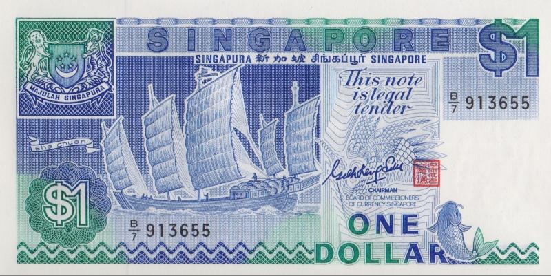 Банкнота номиналом 1 доллар. Сингапур. 1987 год