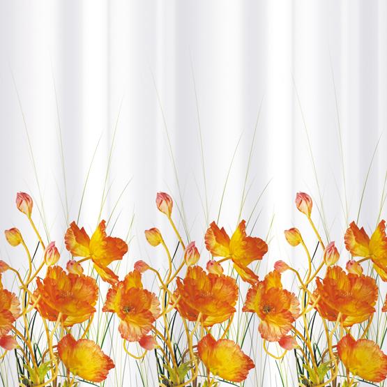 цена на Шторка для ванной Tatkraft French Poppiers, цвет: белый, оранжевый, 180 х 180 см
