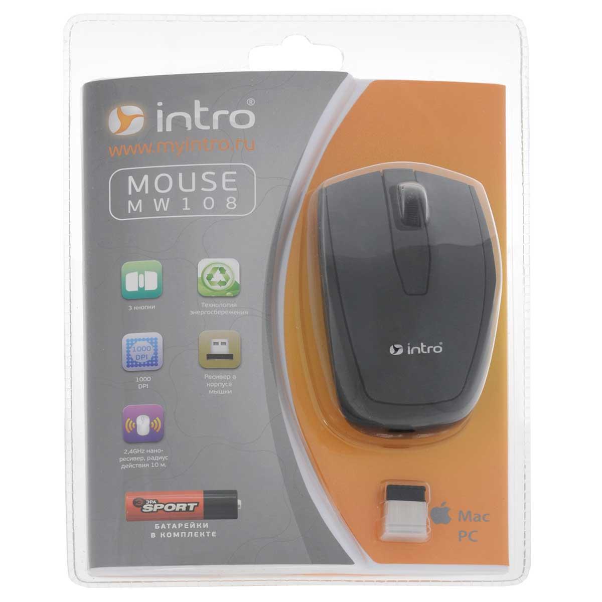 лучшая цена Мышь Intro Wireless black MW108, черный