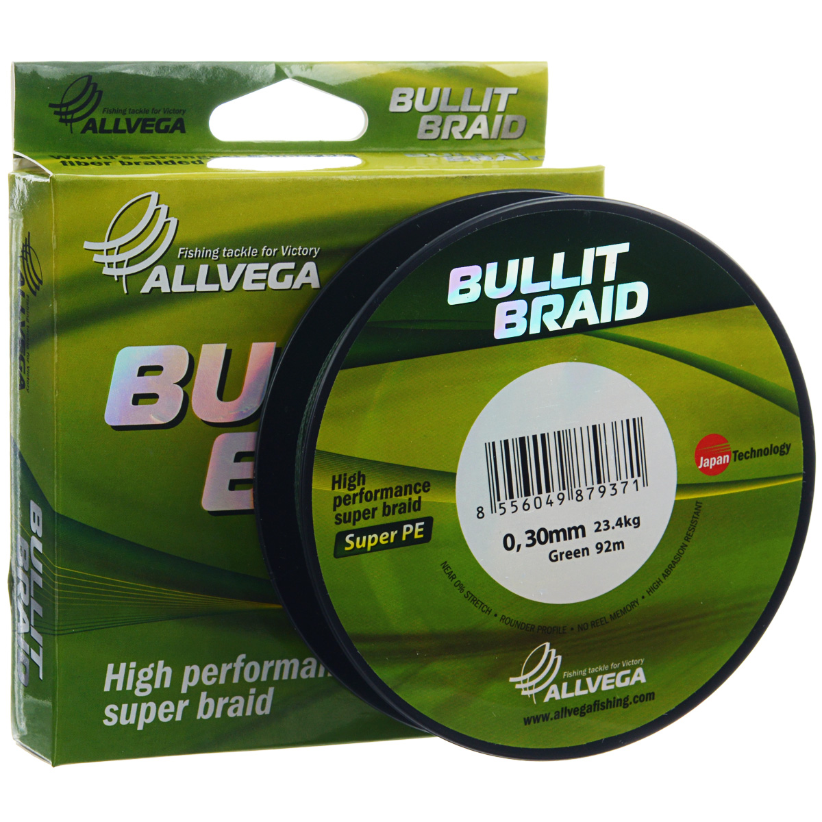 Леска плетеная Allvega Bullit Braid, цвет: темно-зеленый, 92 м, 0,3 мм, 23,4 кг