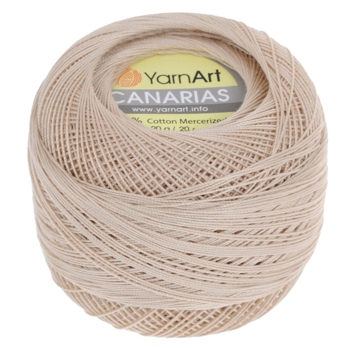 Пряжа для вязания YarnArt Canarias, цвет: бежевый (4660), 203 м, 20 г, 10 шт372079_4660Пряжа для вязания YarnArt Canarias изготовлена из мерсеризованного хлопка. Ультратонкая почти катушечная пряжа, нить шелковистая, блестящая, ровная без узелков, очень плотной крутки. Пряжа YarnArt Canarias - однотонной окраски с шелковистым блеском. Она прекрасно подойдет для вязания ажурных кружев, салфеток, скатерок, шалей, шляп и т.д. Пряжа натуральная, гипоаллегренная, экологичная, поэтому подходит для детских изделий. Легкий блеск и шелковистая текстура пряжи гарантируют превосходный результат. Пряжа окрашена стойкими качественными красителями, не линяет. Рекомендуются спицы и крючок 0,5-1,5 мм. Комплектация: 10 мотков. Состав: 100% хлопок.