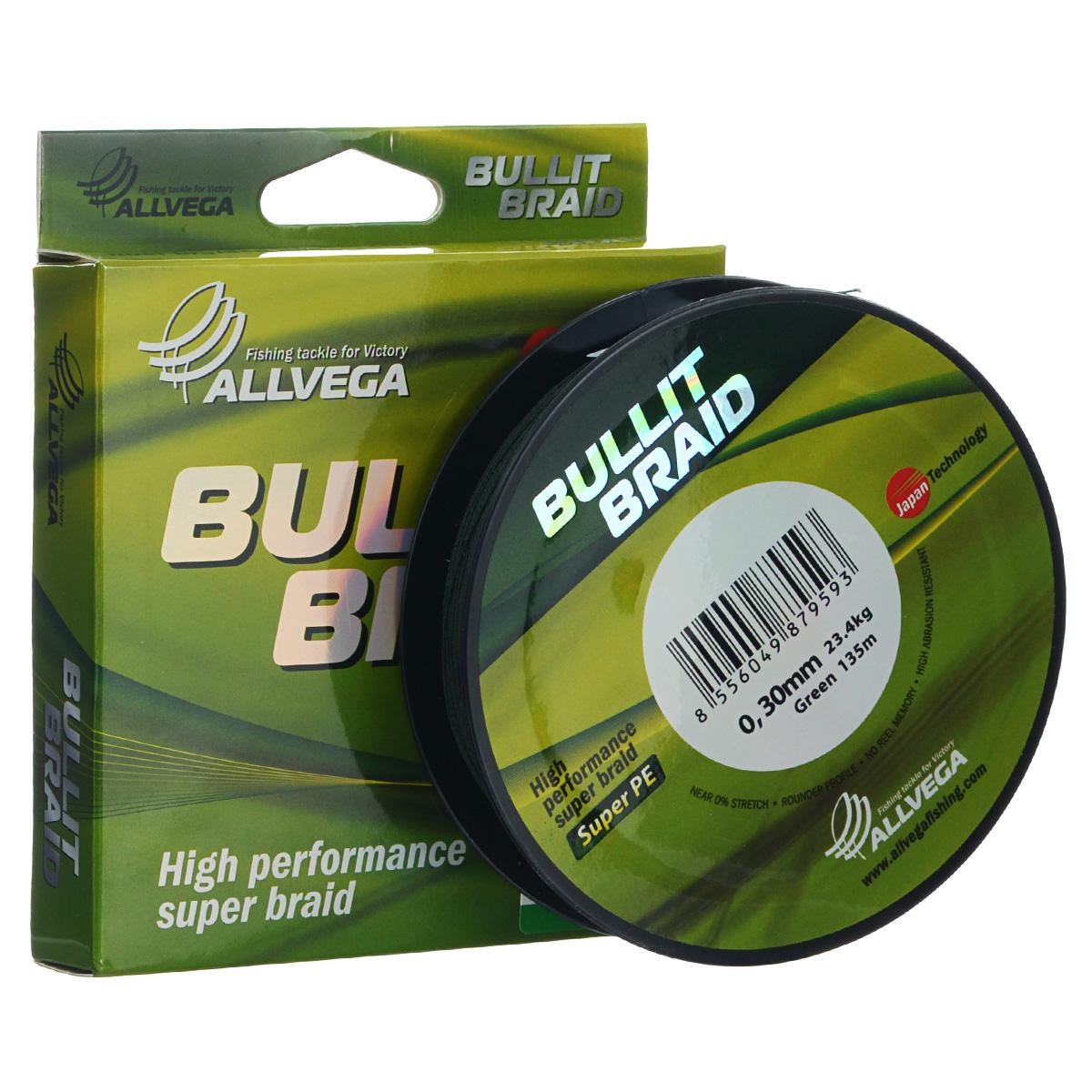 Леска плетеная Allvega Bullit Braid, цвет: темно-зеленый, 135 м, 0,3 мм, 23,4 кг леска плетеная power pro цвет желтый 135 м 0 23 мм 15 кг