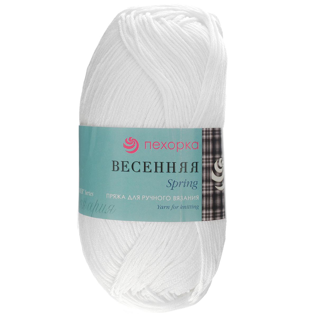 "Пряжа для вязания Пехорка ""Весенняя"", цвет: белый (01), 250 м, 100 г, 5 шт"
