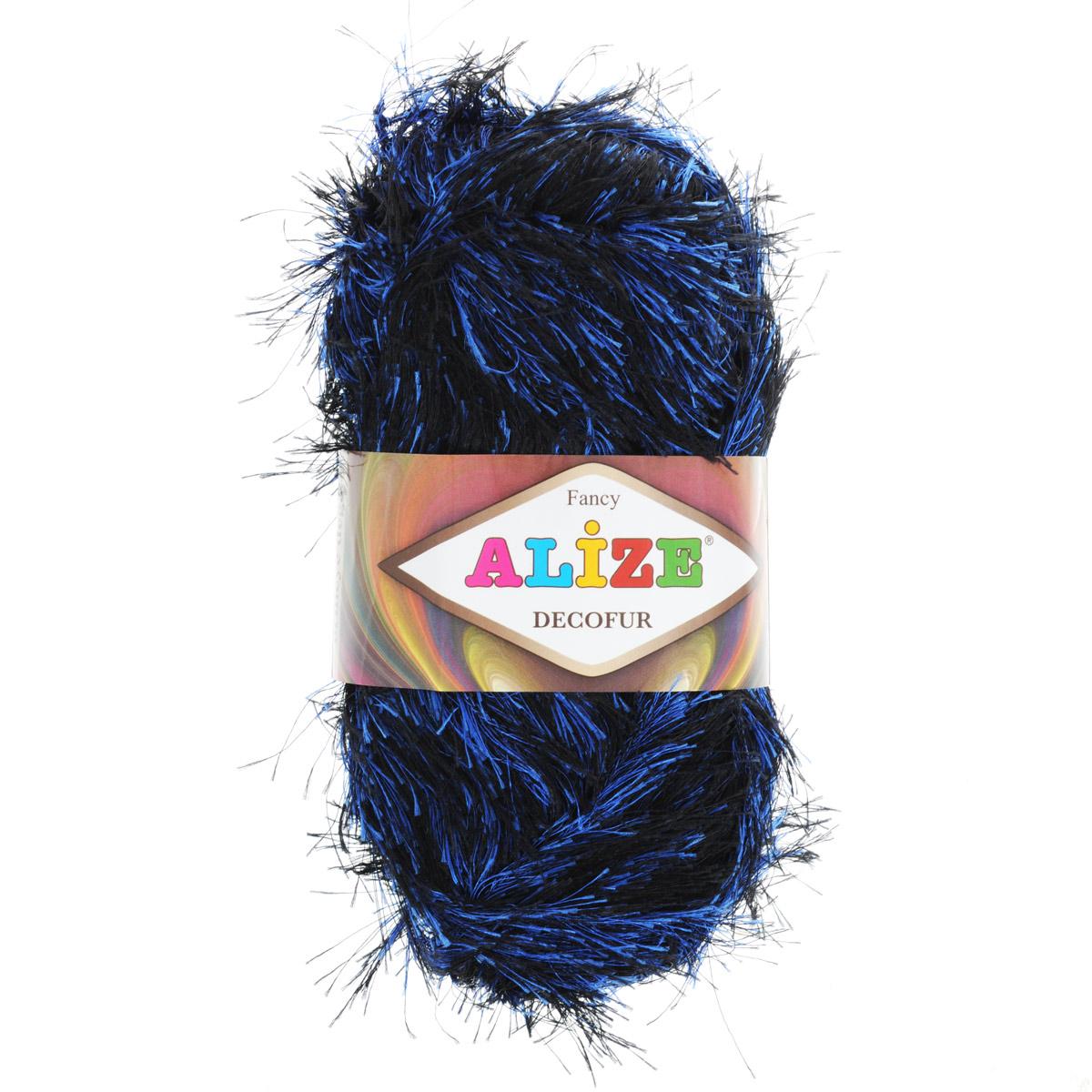Пряжа для вязания Alize Decofur, цвет: черный, синий (1379), 110 м, 100 г, 5 шт цена