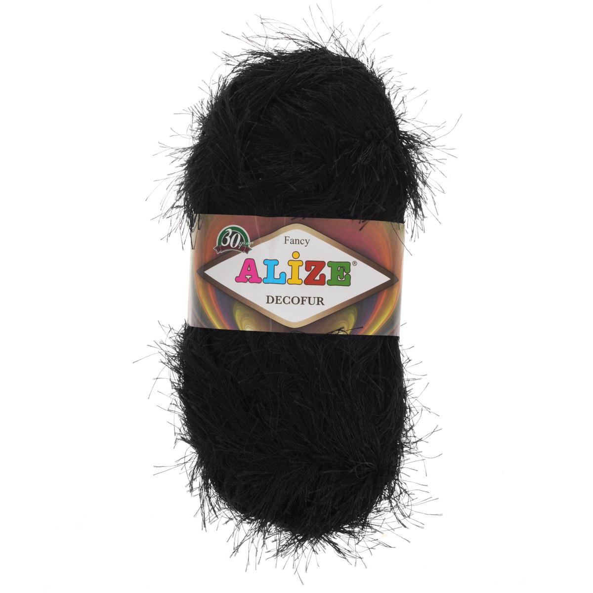Пряжа для вязания Alize Decofur, цвет: черный (60), 110 м, 100 г, 5 шт цена