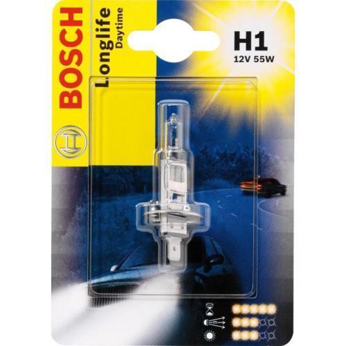 Лампа Bosch H1 Day Time Plus 10 19873010511987301051Новые лампы Bosch для галогенных фар освещают дорогу интенсивным белым светом, который очень близок по свойствам к дневному освещению.Благодаря этому глаза водителя не теряют фокусировки и меньше устают даже во время долгих поездок в темное время суток. Новые лампы отличаются высокой яркостью и могут давать до 50% больше света, чем стандартные галогенные фары. Лампы Bosch доступны в вариантах H1, H4 и H7. Серебряное покрытие ламп H4 и H7 делает их едва заметными за стеклами выключенных фар. Новые лампы выглядят наиболее эффектно в сочетании с фарами из прозрачного стекла и подчеркивают современный дизайн автомобилей. Увеличенная яркость и дальность освещения положительно сказывается на безопасности движения. В темное время суток или в сложных погодных условиях, таких как ливень или густой туман, водитель замечает опасную ситуацию намного раньше и на большем расстоянии, при этом лучше заметен и сам автомобиль с фарами Bosch. Напряжение: 12 вольт