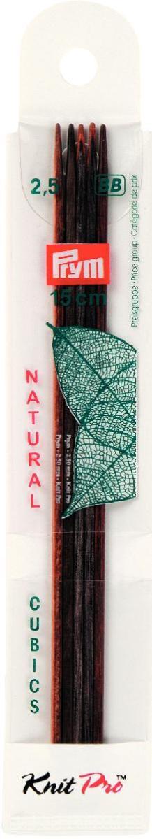 Спицы чулочные Prym Natural Cubics, деревянные, прямые, диаметр 2,5 мм, длина 15 см, 5 шт спицы прямые алюминиевые с покрытием 35см 5 0мм 940250 940205