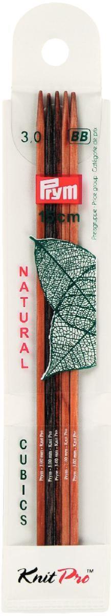 Спицы чулочные Prym Сubics Natural, деревянные, прямые, диаметр 3 мм, длина 15 см, 5 шт спицы прямые алюминиевые с покрытием 35см 5 0мм 940250 940205