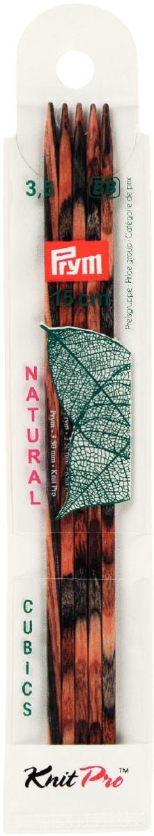 Спицы чулочные Prym Natural Cubics, деревянные, прямые, диаметр 3,5 мм, длина 15 см, 5 шт спицы прямые алюминиевые с покрытием 35см 5 0мм 940250 940205