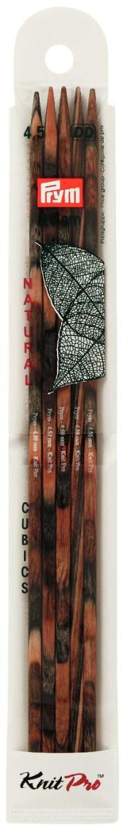 Спицы чулочные Prym Сubics Natural, деревянные, прямые, диаметр 4,5 мм, длина 20 см, 5 шт спицы прямые алюминиевые с покрытием 35см 5 0мм 940250 940205