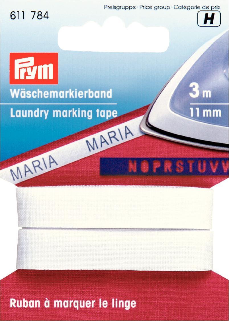Лента для маркировки белья Prym, цвет: белый, 11 мм, 3 м лента самоклеющаяся prym двухсторонняя цвет прозрачный 6 мм 9 м