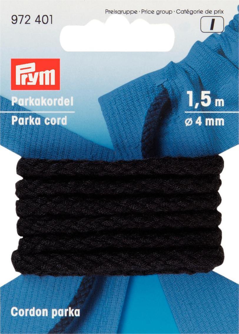 """Шнур для парки """"Prym"""", цвет: черный, диаметр 4 мм, длина 1,5 м"""