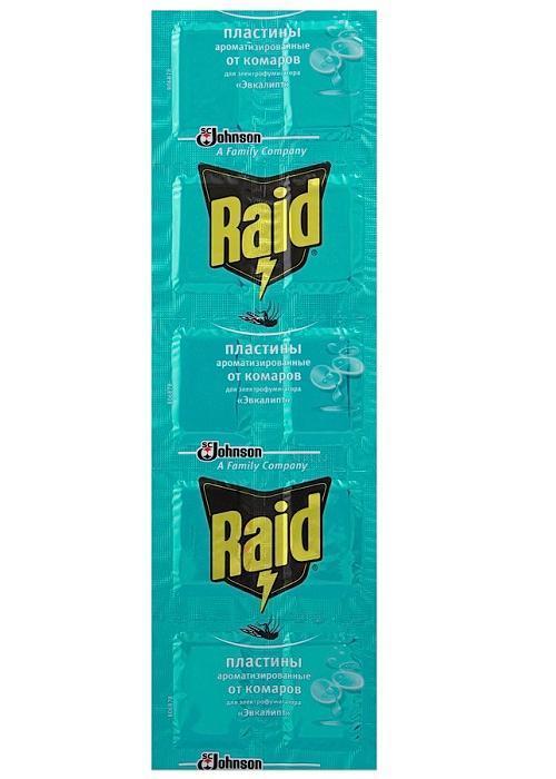 Пластины от комаров Raid Эвкалипт, 10 шт рейд электрофумигатор пластины от комаров 10шт