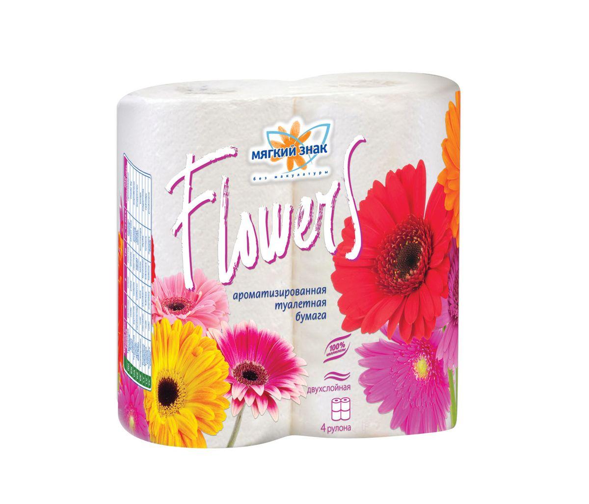Туалетная бумага Мягкий знак Flowers, ароматизированная, двухслойная, цвет: белый, 4 рулона туалетная бумага biocos двухслойная цвет белый 4 рулона