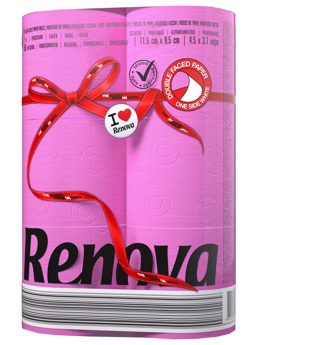 Туалетная бумага Renova двухслойная ароматизированная цвет  фуксия 6 рулонов