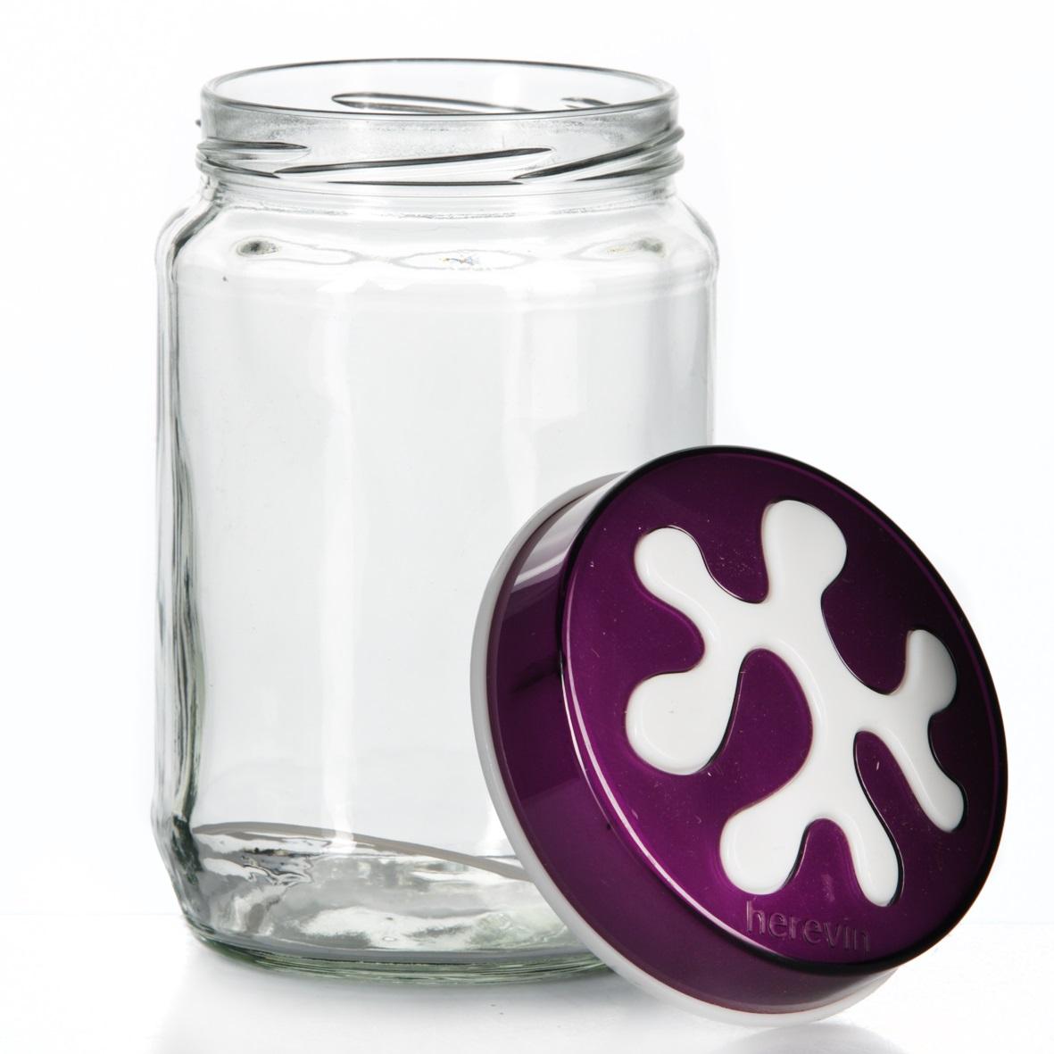 Банка для сыпучих продуктов Herevin, цвет: фиолетовый, 720 мл. 135367-003 банка для сыпучих продуктов herevin цвет фиолетовый прозрачный 425 мл 135357 500