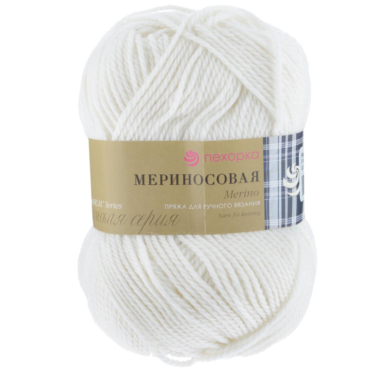 Пряжа для вязания Пехорка Мериносовая, цвет: белый (01), 200 м, 100 г, 10 шт пряжа для вязания пехорка мериносовая цвет изумрудный 335 200 м 100 г 10 шт